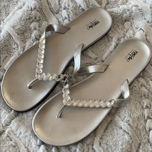 Mossimo Silver Jeweled Flip Flops